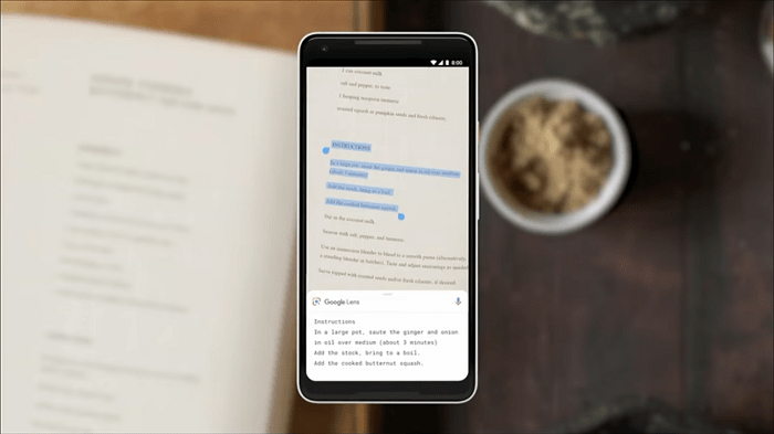 Lens copying physical text to mobile