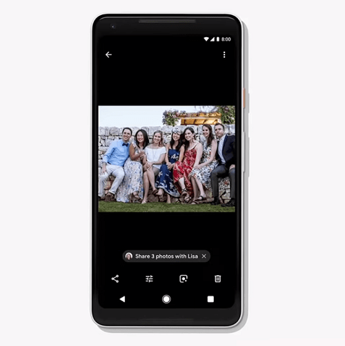 Suggested actions in google photos